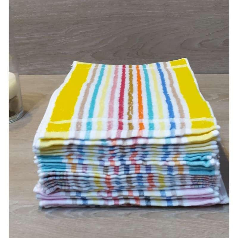 Toallas de tocador con listas de  varios colores, el contenido en un paquete.