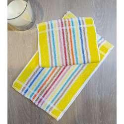 Toallas tocador listas finas de varios colores con predominancia del amarillo.