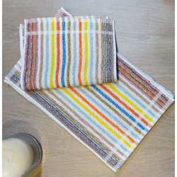 Toallas tocador listas finas de varios colores con predominancia del color tierra.