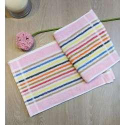 Toallas tocador listas finas de varios colores con predominancia del rosa.