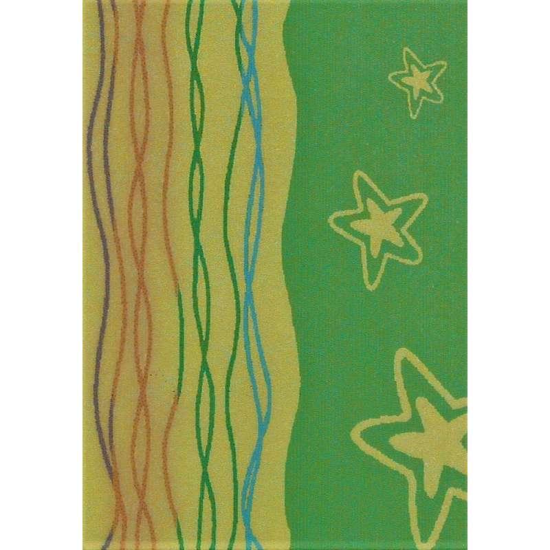 Toalla de playa con estrellas y serpentinas de color verde y amarillo