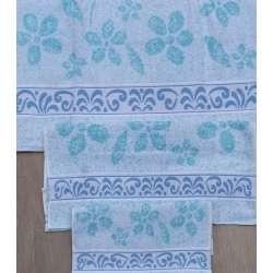 Juego de toallas con estampado de flores verde pastel