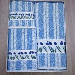 Juego de toallas modelo Flores Silvestres color azul